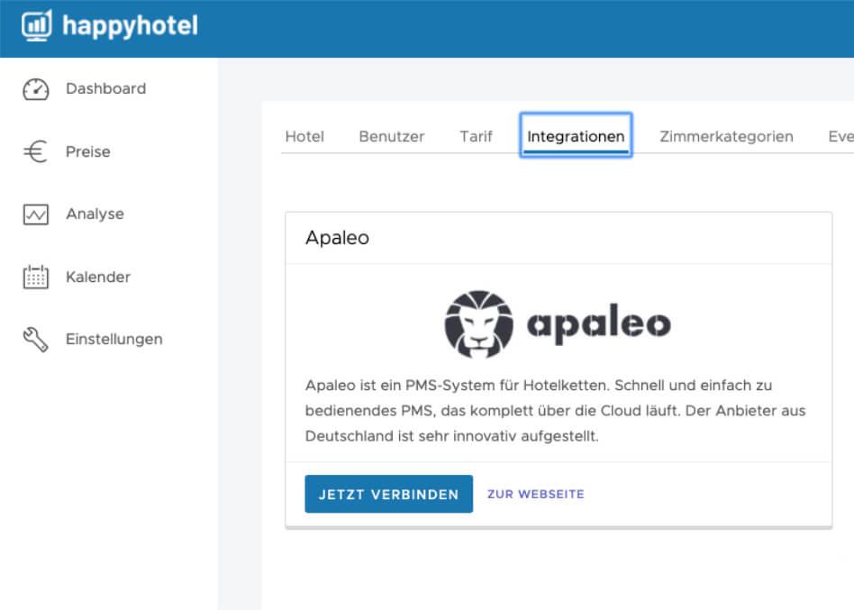apaleo happyhotel connect revenue management uk